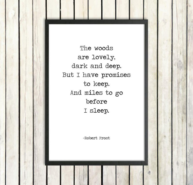 Robert Frost Printable Poem Quote 'Miles To Go Before I Sleep' Instant Poetry Download Vintage Typewriter Poster Promises To Keep Poem Print #excelwordaccessetc