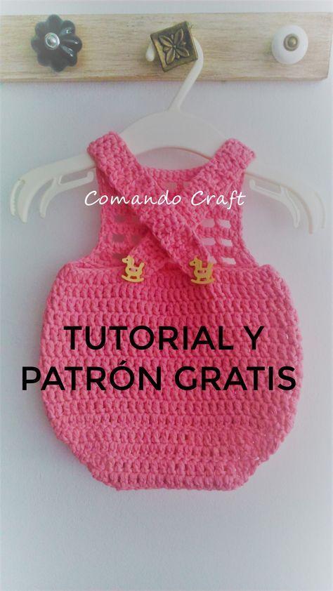 Patrón gratis y paso a paso de pelele bebe recien nacido – Crochet #vestidosparabebédeganchillo