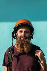 Portrait of bearded man standing outdoors , #ad, #bearded, #Portrait, #man, #outdoors, #standing #Ad
