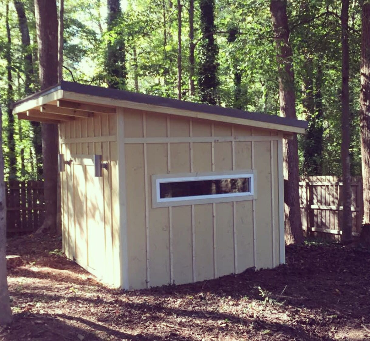 Modern Shed Atlanta: 10 X 12 Slant Roof Modern Shed, Board And Batten Siding