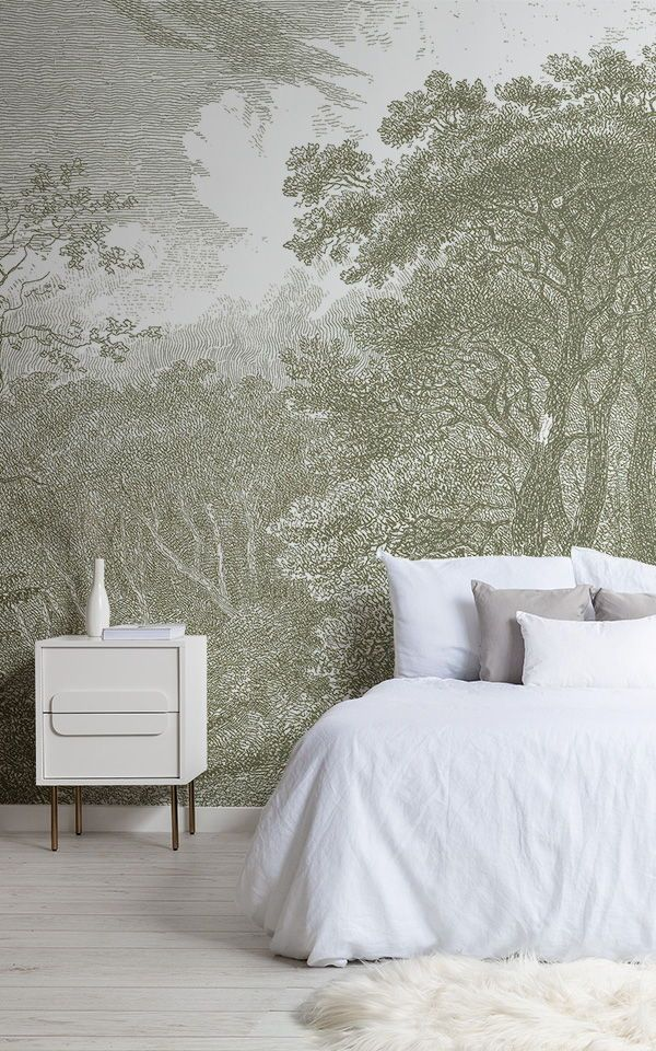 Green Tree Forest Etching Wallpaper Mural Forest
