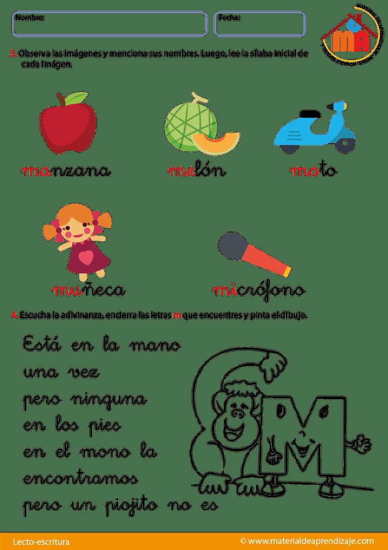 Poema Por El Dia Del Campesino Para Niños De Inicial La Letra M Letra M Lecto Escritura Letras