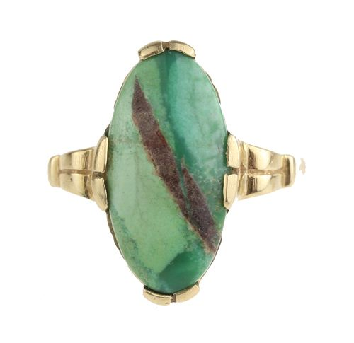 Art Deco Green Turquoise Navette Ring in 10k Yellow Gold
