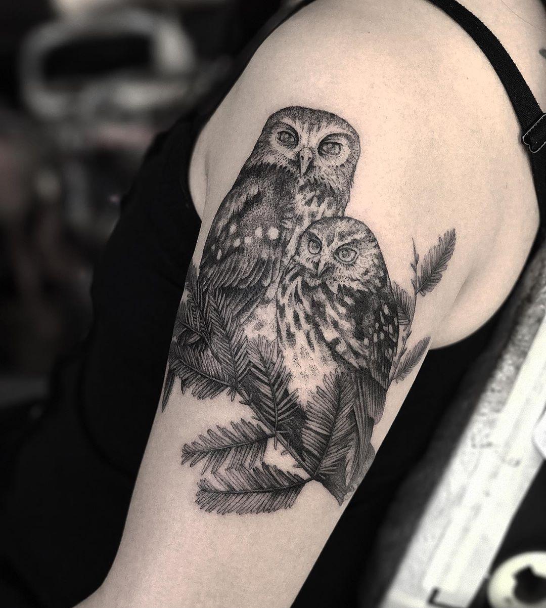 Two Owls Tattoo Owl Tattoo Design Owl Tattoo Snowy Owl Tattoo