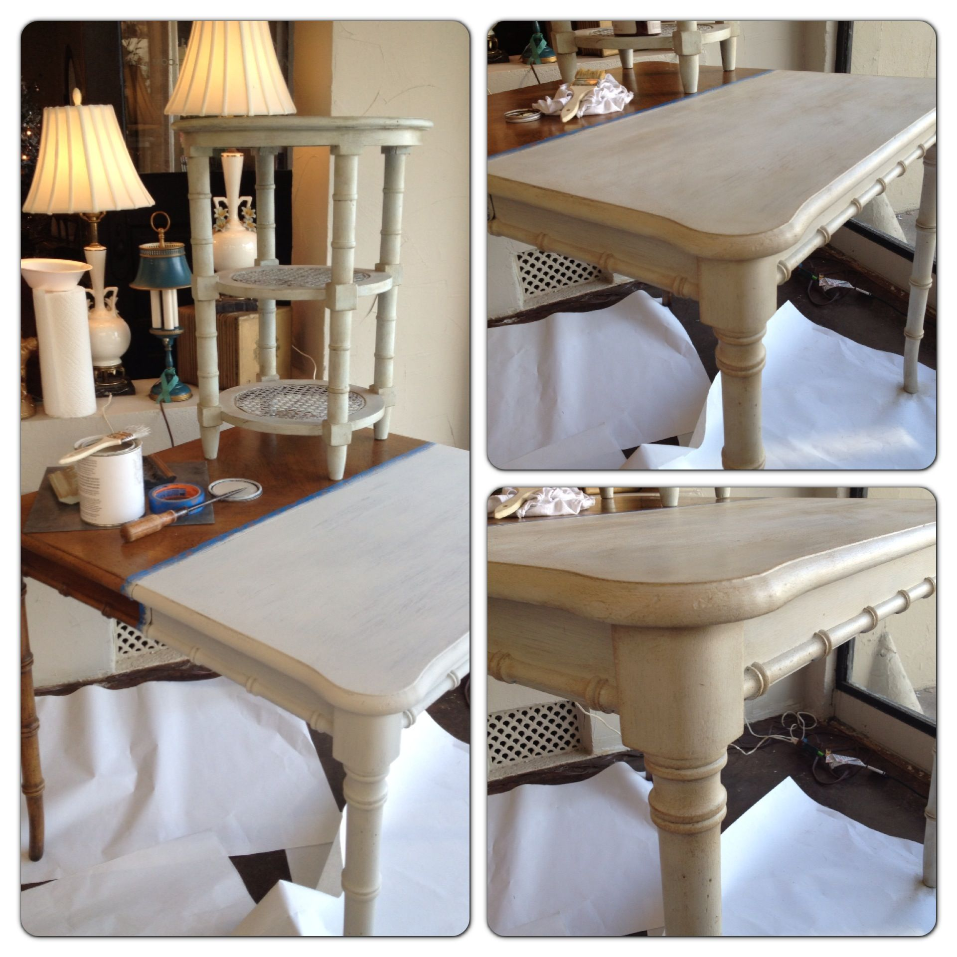 Table transformation at Kim Hoegger Home today with Amy Howard One Step Paint!
