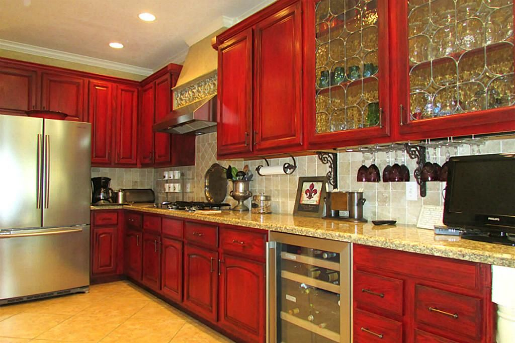 Red Cabinets In Kitchen Red Stained Kitchen Cabinets  Google Search  Log Cabin Ideas .