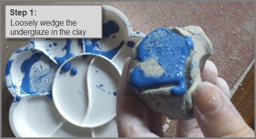 Add underglaze colour to clay