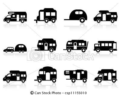 Vector Caravan Or Camper Van Symbol Stock Illustration