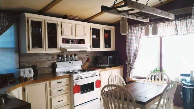 Rustic Farmhouse Kitchen mobile home gets rustic farmhouse kitchen makeover | rustic