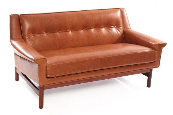 Gorgeous Caramel Leather  Rosewood Danish Loveseat red modern