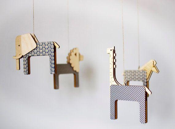 Unique Nursery Mobile Lasercut Wood Gender Neutral Decor Modern Crib Grey