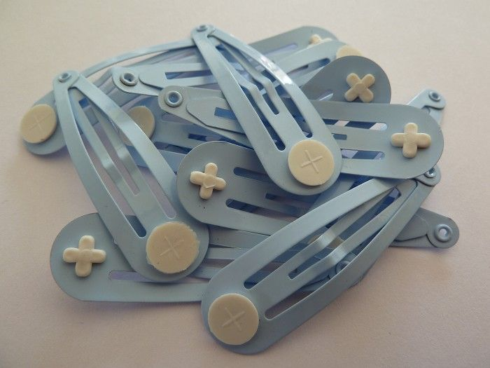 10 x Pale blue hair clips with glue pads - by LittleRedRaspberry on Craftumi $2.20
