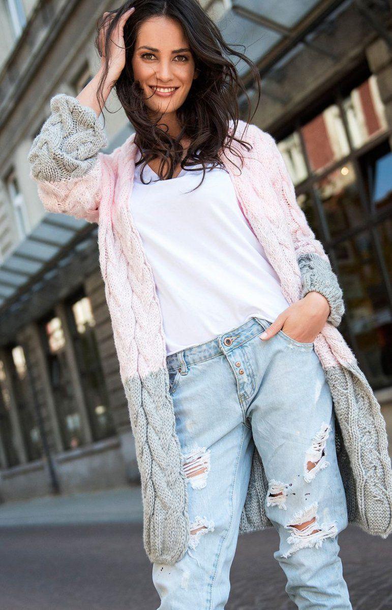 11d26ddd Numinou S37 sweter różowo-szary - Kardigan damski - MODA DAMSKA ...
