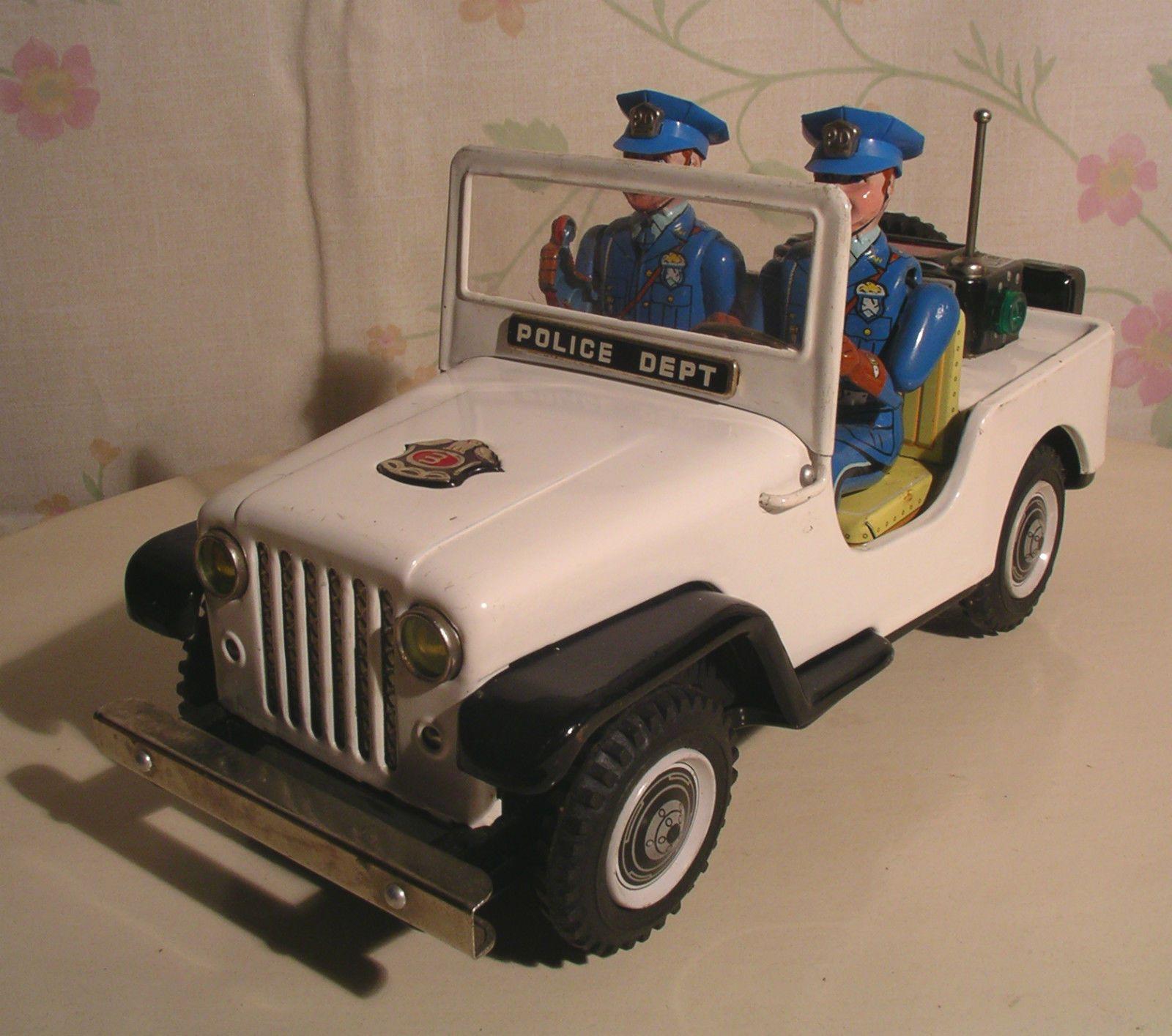TN NOMURA Japan Police Car Jeep Vintage Battery Tin Toy