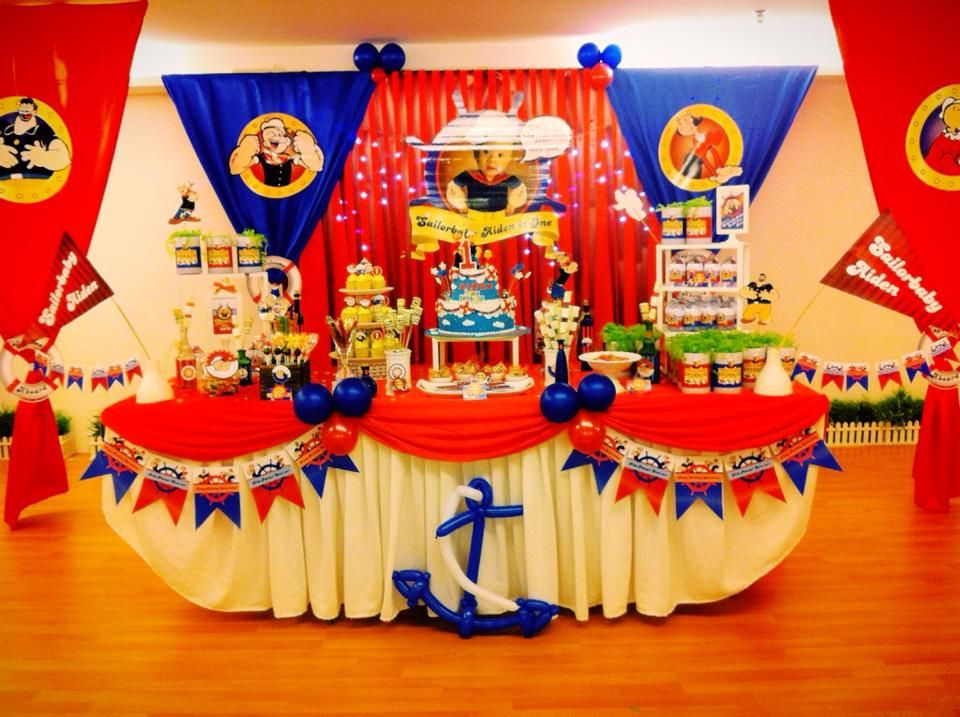 Backdrop cake table candy buffet for a popeye themed for Table design for 1st birthday