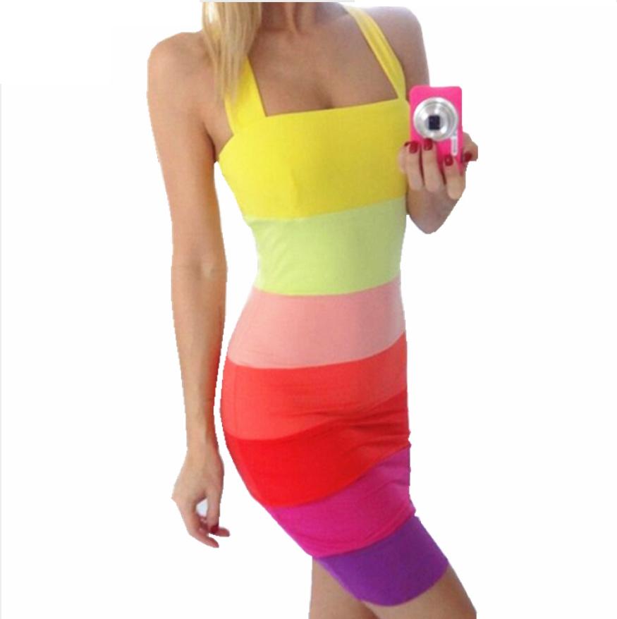 Krásné pruhované dámské šaty letní barvy – Velikost L Na tento produkt se  vztahuje nejen zajímavá 94616edd41