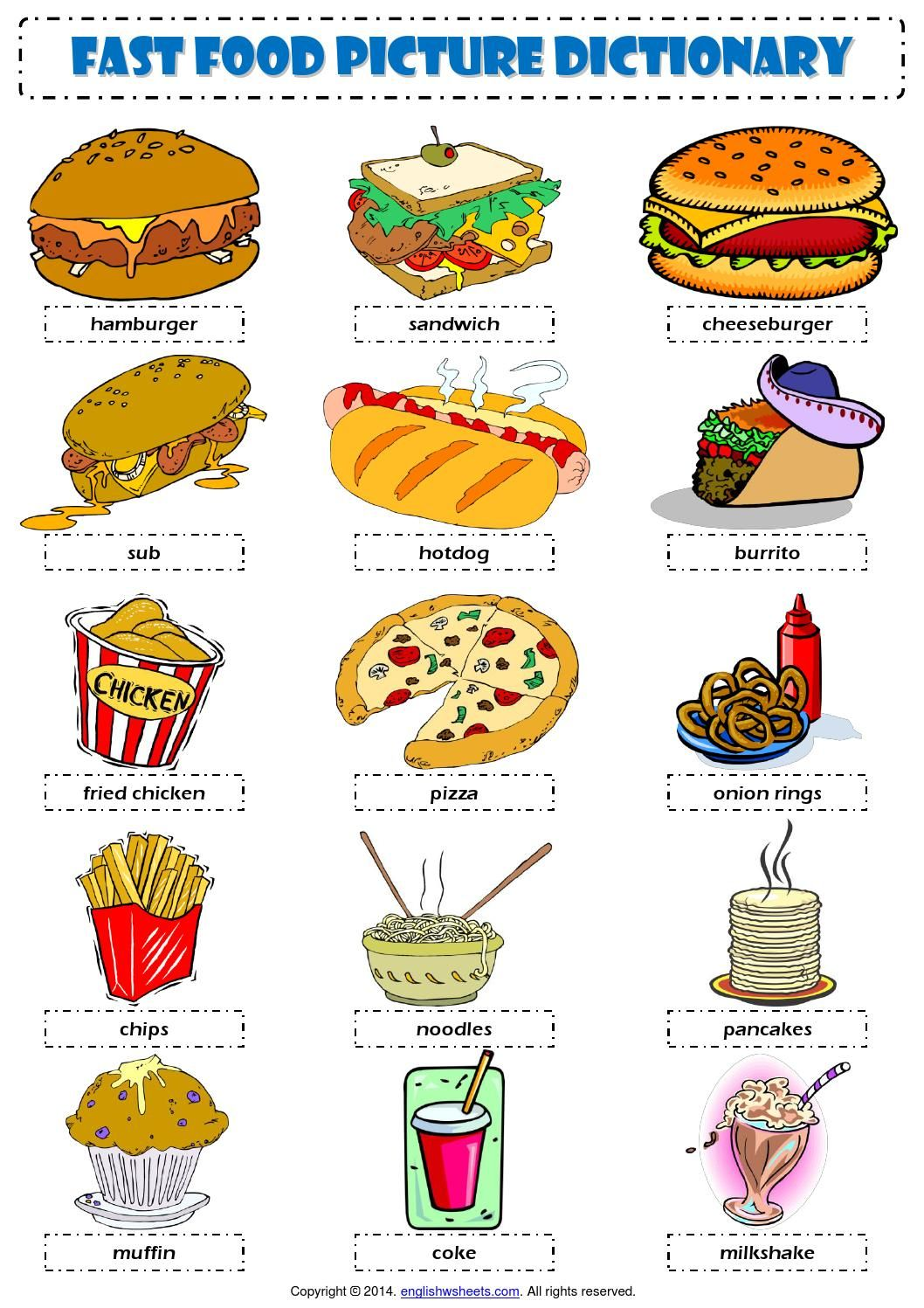 Workbooks spanish food worksheets : English Vocabulary - fast food - | English, English vocabulary and ...