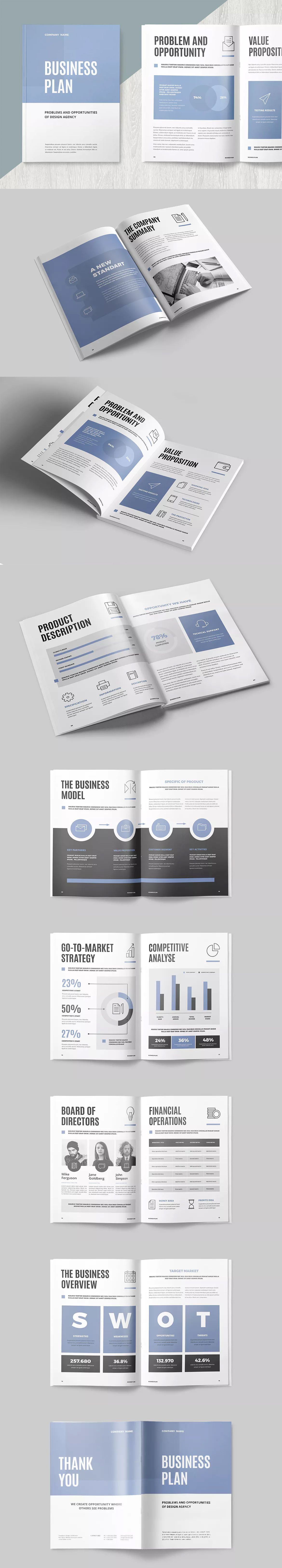 Business Plan Template InDesign INDD A Editorial - Business plan template indesign