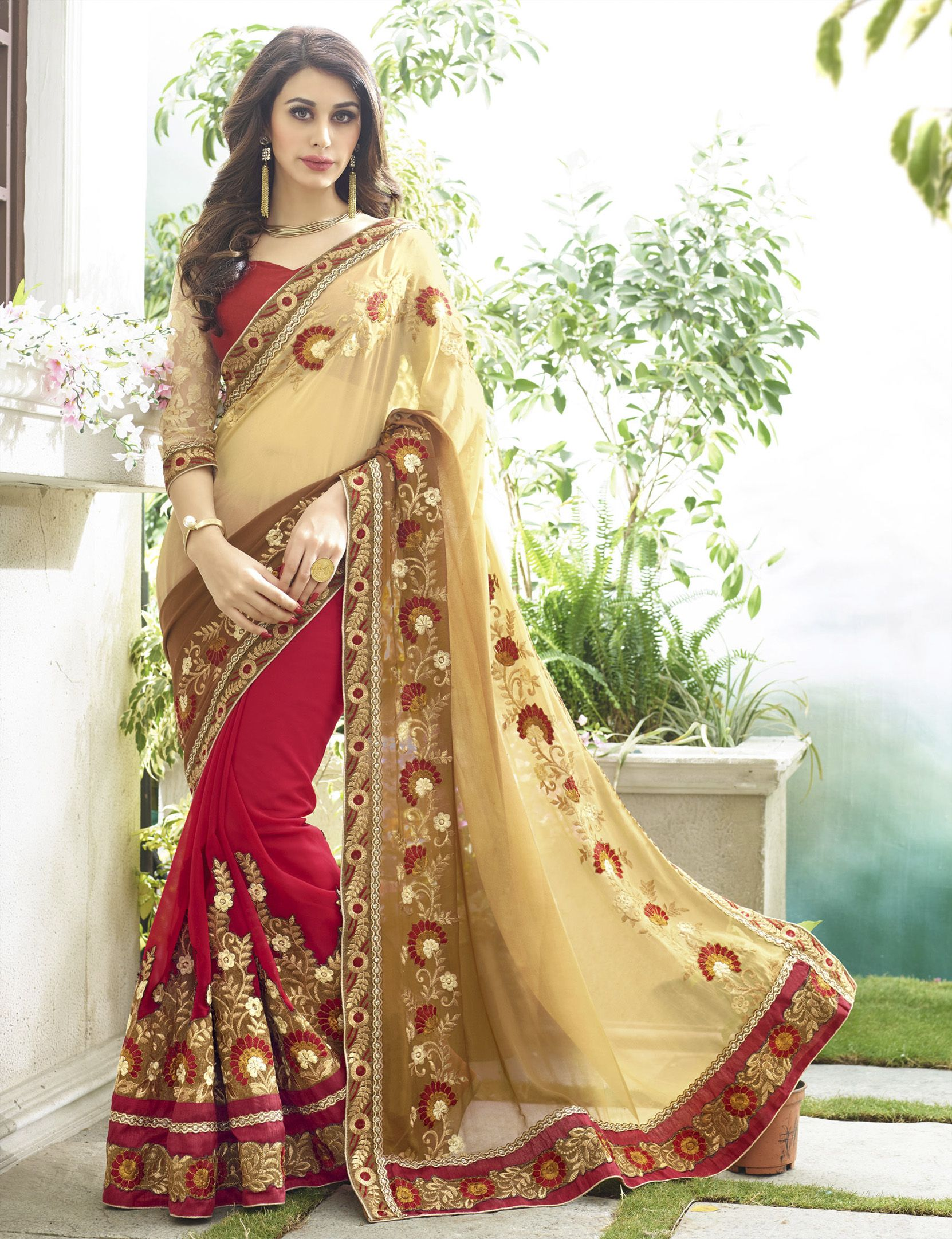 Beautiful Maroon And Cream Colored Georgette Designer Saree