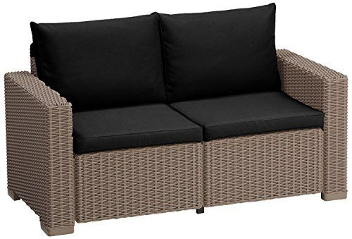 Black Replacement 4 Piece Seat Cushions Set For Keter Allibert California Outdoor Rattan 2 Seater Sofa
