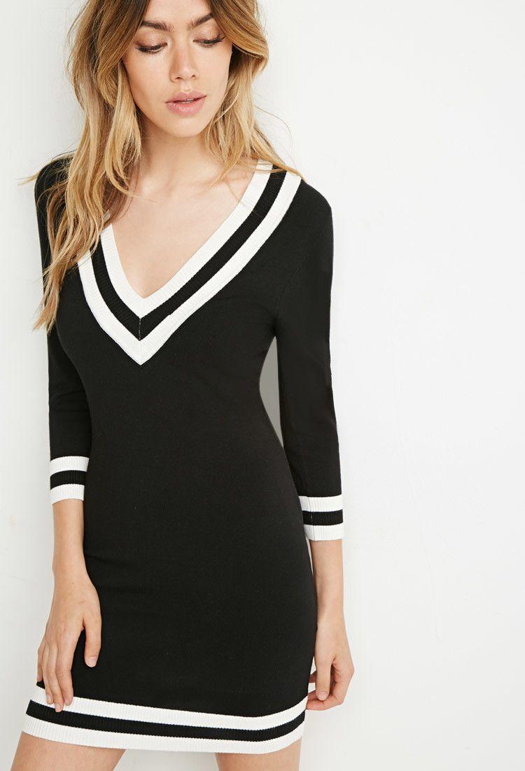 3bafc5ee388 Varsity-Striped Sweater Dress