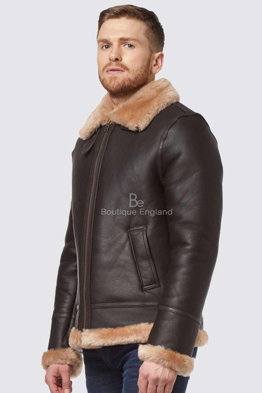 Men's Real Sheepskin Brown Beige Shearling Fur Leather