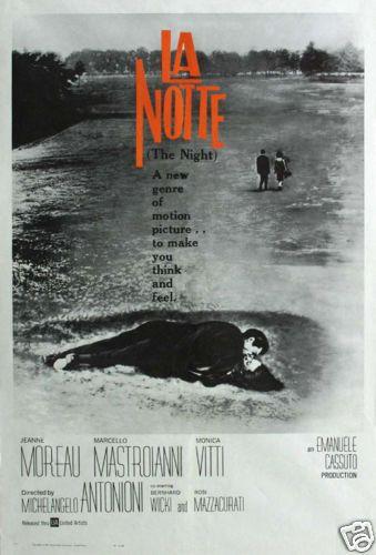 La notte Marcello Mastroianni J Moreau movie poster print #6