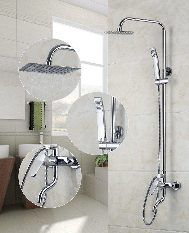 Square 8 A Grade Abs Plastic Shower Head Chrome Bathroom Brass