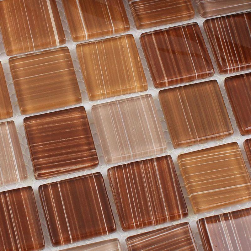 Crystal Glass Tile Backsplash Cheap Kitchen Ideas Hand Painted Brown