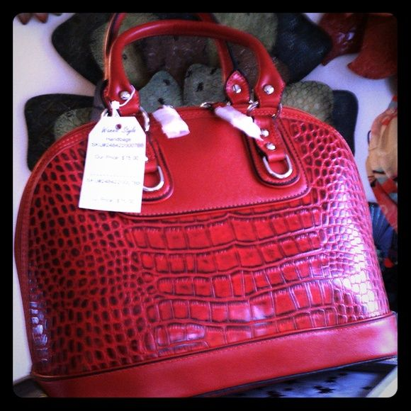 Faux Croc Embossed Bag - Red You can feel the heat from this hot croc embossed bag! Double handles strap, top zipper opn/closure. Hard body, plenty of room. Bags Satchels