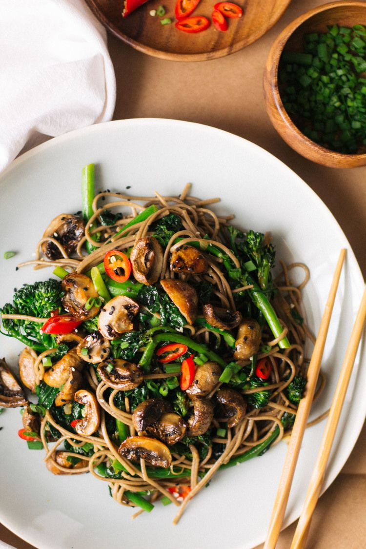 Roasted Teriyaki Mushrooms And Broccolini Soba Noodles The