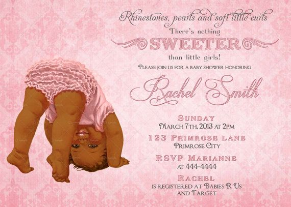 African American Girl Baby Shower Invitation FREE Thank You Card