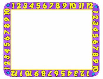 1b7eeb1da538 Playful and educational 123 number borders and frames. Help children with  counting skills. This