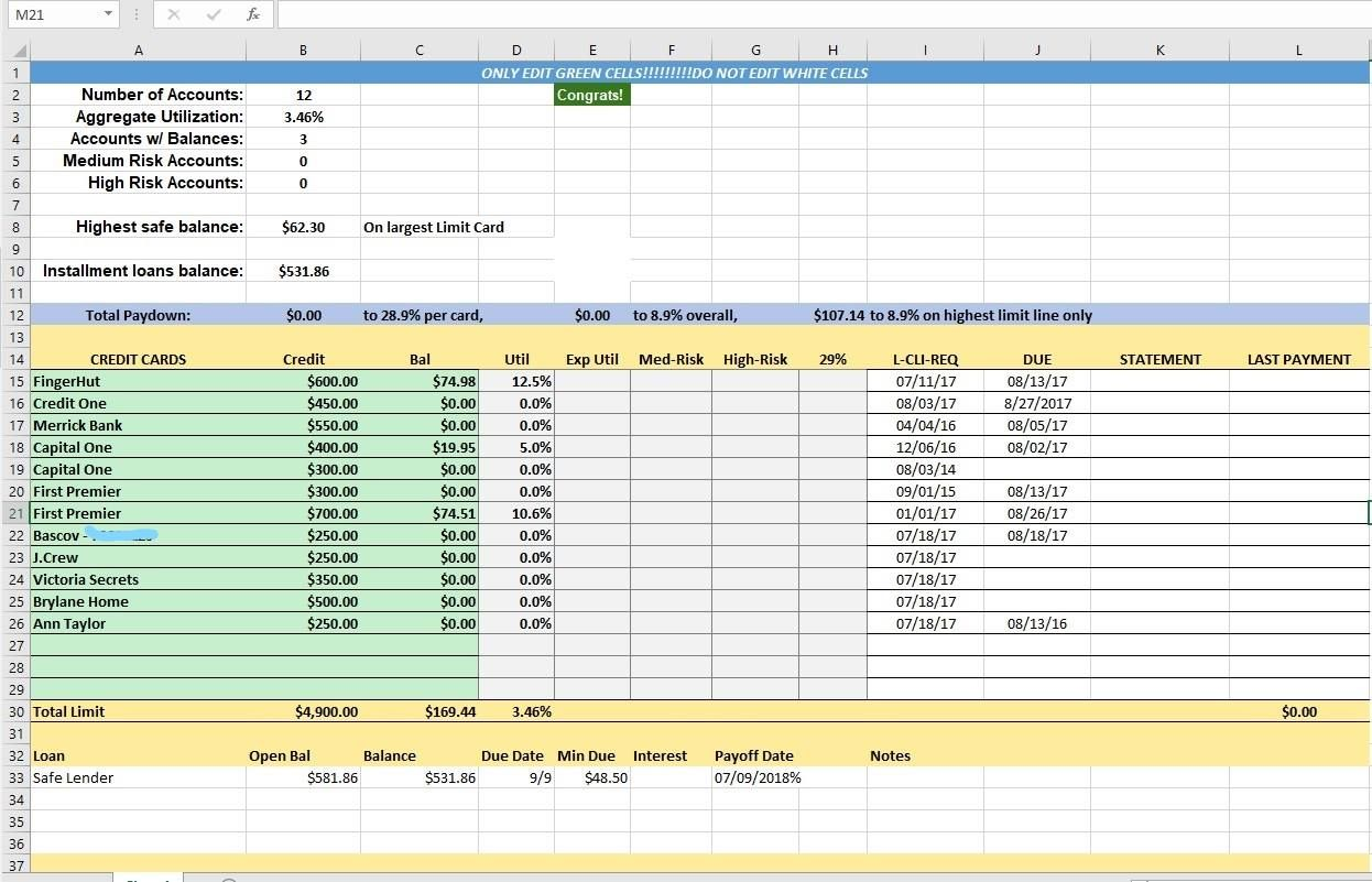 Credit Card Utilization Tracking Spreadsheet
