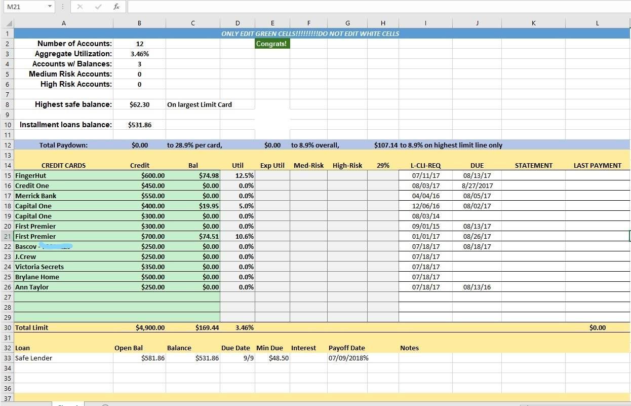 Credit Card Utilization Tracking Spreadsheet