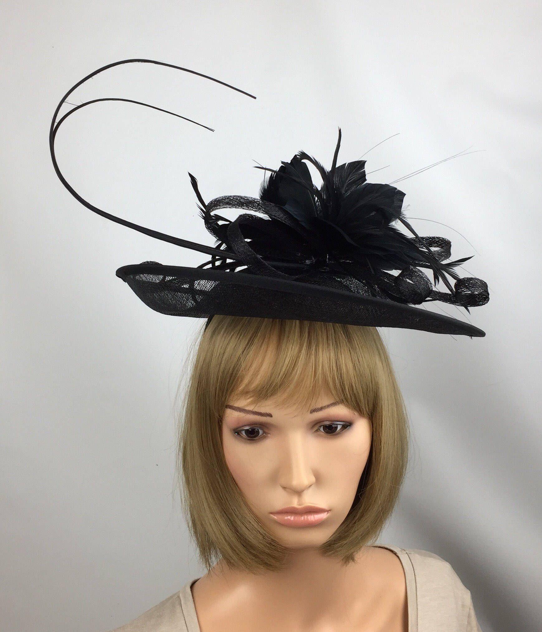 66cdb96f14e71 Black Fascinator Black Hatinator Mother of the Bride Hat Black hat ...