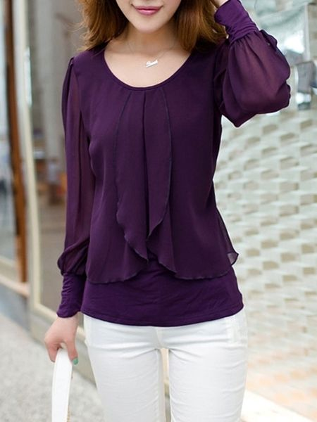 ae6a5ab7992752 Falbala Decoration Chiffon Blouse. Find this Pin and more on Women's Tops  ...
