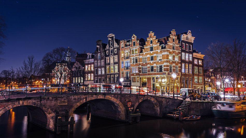Papiermolensluis Amsterdam Van Martijn Kort Op Canvas Behang En