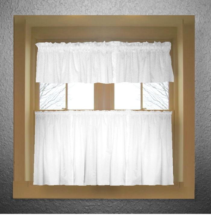 Solid Bright White Colored Kitchen Curtain Only   Valance Sold Separately    (available In Many