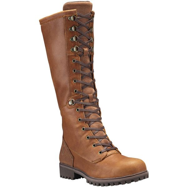 Timberland Women's Wheelwright Tall Lace Wp Boot Boots ($205) ❤ liked on Polyvore featuring shoes, boots, dark sudan brown, breathable boots, timberland boots, tall boots, fleece-lined shoes and timberland shoes