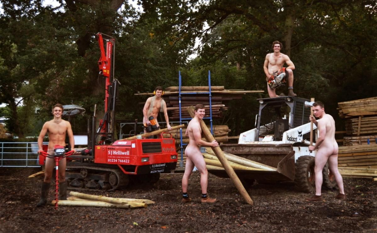 Young farmers club calendar girls, naked chick doing splits
