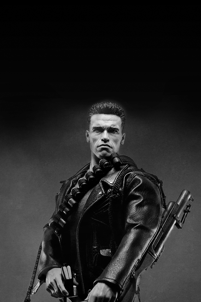 Tap And Get The Free App Art Creative Movie Cinema Terminator Genisys Robot Machine Arnold Schwarzenegger H Wallpaper For Iphone 4 Black And White Hollywood