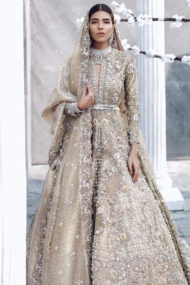 4105b8dcfd I'm loving this beautiful embroidered silver-white couture anarkali - this  would be