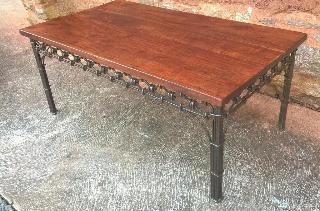 213vintage heavy solid hardwood coffee table on