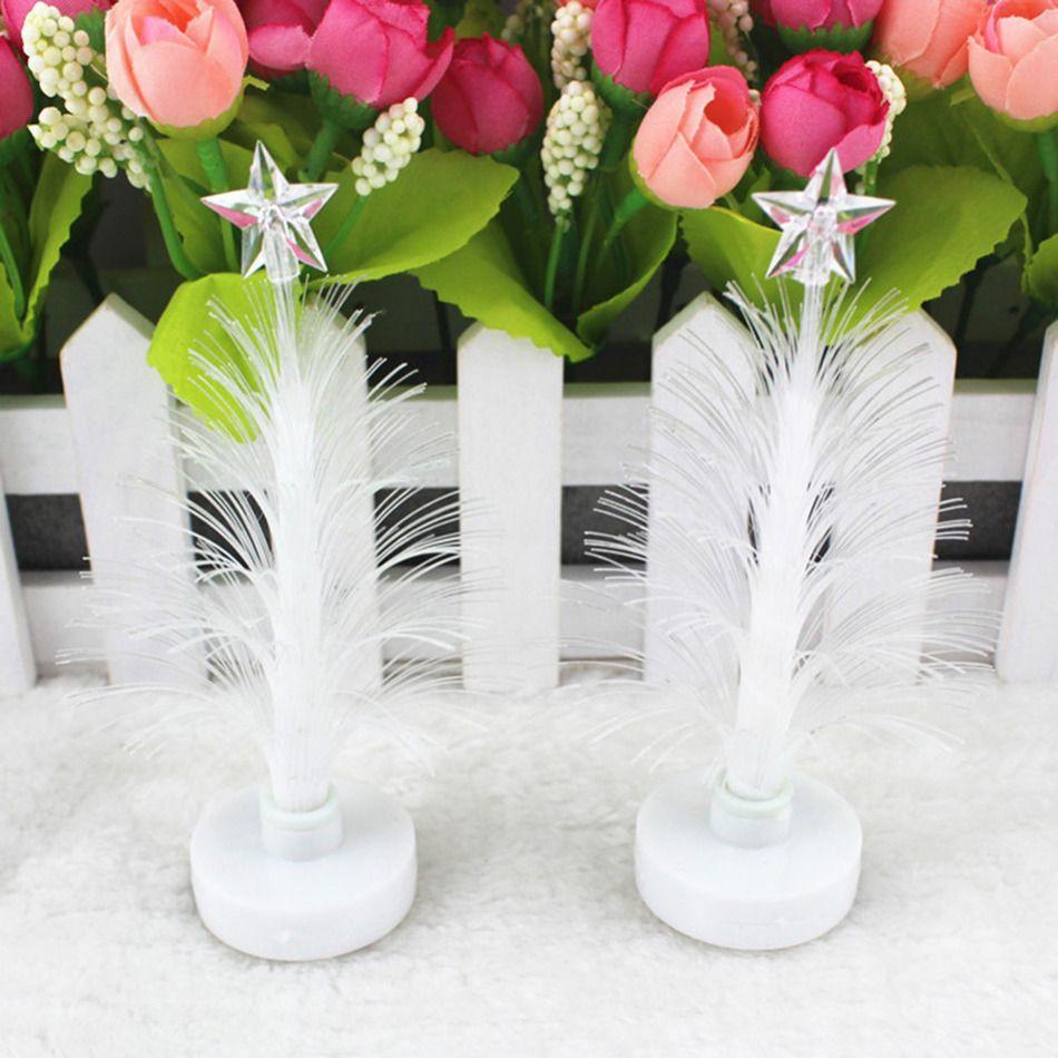 Fibre optic christmas flowers and xmas flowers - 12cm Christmas Tree Fiber Optic Night Light Lamp Emitting Flowers Crystal Colorful Led Desk Decor Table