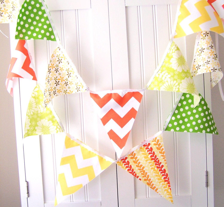 21 Fabric Flag Banner, Birthday Party, Wedding, Orange, Yellow ...
