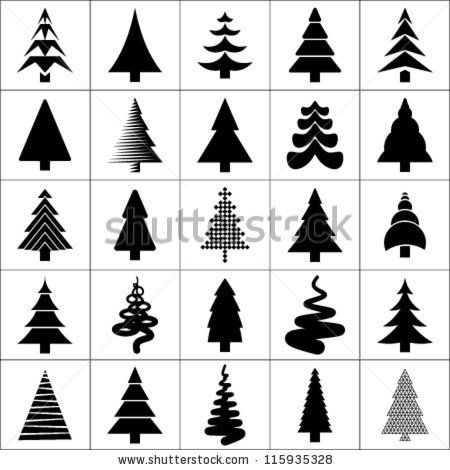 Stock Vector Christmas Tree Silhouette Design Vector Set Concept Tree Icon Collection Isolated On White Christmas Tree Silhouette Tree Icon Tree Silhouette
