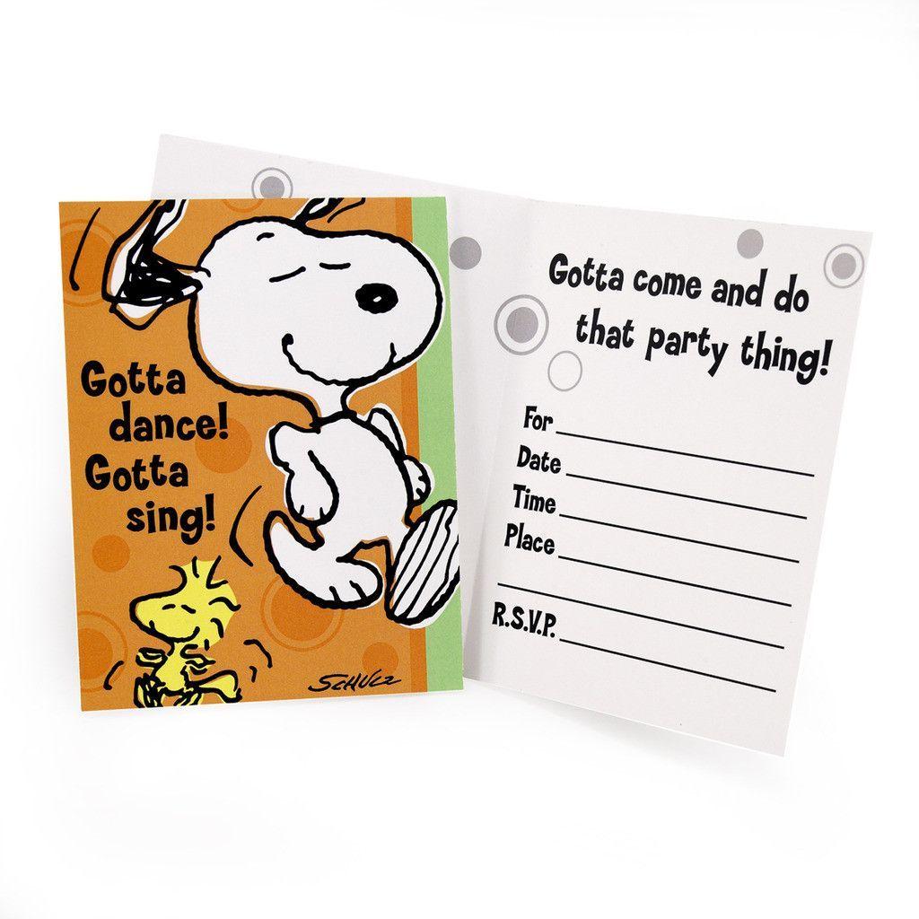 Snoopy Invitations | Snoopy, Snoopy party and Birthdays