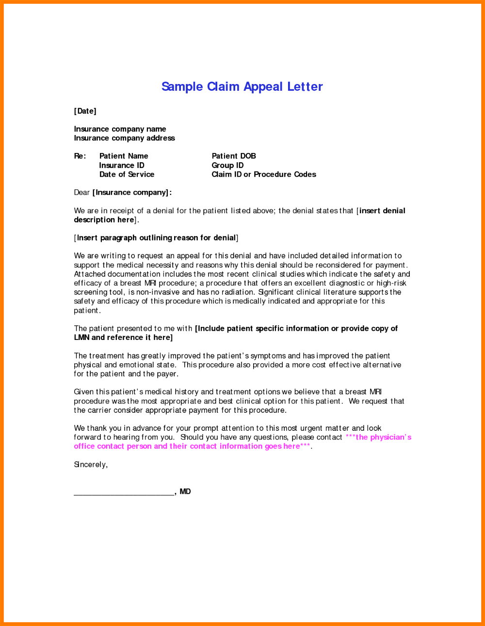 Template Ideas Insurance Denial Shocking Letter Claim Appeal
