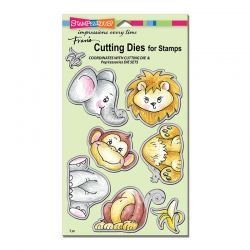 Cling Jungle Friends Rubber Stamp Set (CRS5086)         Jungle Friends Die Set  (DCS5086)